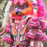 A costume display of a traditional Mummers outfit