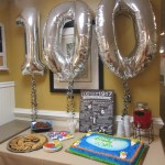 100 birthday décor all set up!