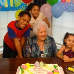 Mary surrounded by her great grandkids!