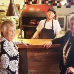 Loretta and Lois were all smiles with the wood-fire oven and could not wait to taste the pizza.